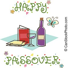 Happy Passover Sign - Stylized Passover sign with Passover...