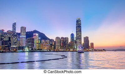 Hong Kong, China skyline panorama with skyscrapers day to...