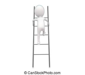 3d man climbing up a ladder concept
