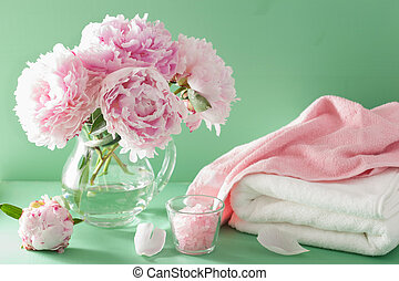 bath and spa with peony flowers herbal salt towels