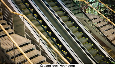 Escalators and stairs in store