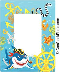 Frame with a pirate shark - Vector vertical frame border...