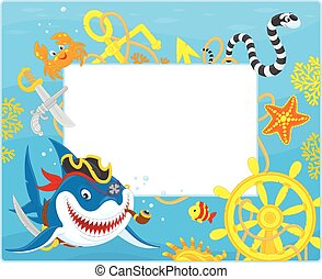 Frame with a pirate shark - Vector horizontal frame border...