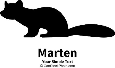 Vector illustration animal marten Isolated silhouette on a...