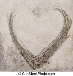 sketch heart on grunge old paper