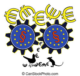 EU is wasting Money - Satiric concept sign of how European...