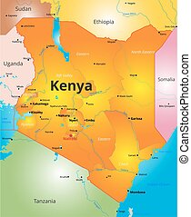 color map of Kenya country - Vector color map of Kenya...