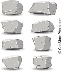Boulders And Rocks Set - Illustration of a set of cartoon...