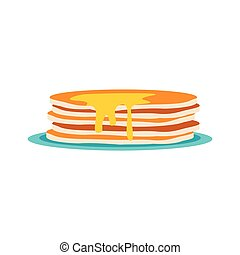 Stack of pancakes icon, flat style