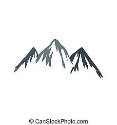 Mountain icon, flat style - Mountain icon in flat style...