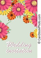 Greeting card, watercolor, can be used as invitation card for wedding, birthday and other holiday and summer background. Vector illustration.