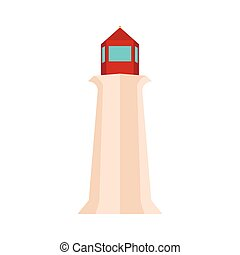 Peggy Cove Lighthouse, Nova Scotia, Canada icon in flat...