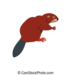 Beaver icon, flat style - Beaver icon in flat style isolated...