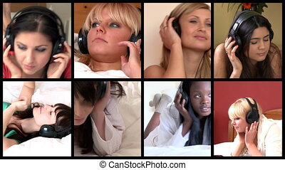 Stock animation of lively women listening music at home