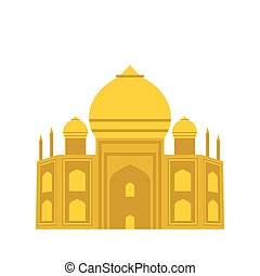 Taj Mahal, India icon, flat style - Taj Mahal, India icon in...