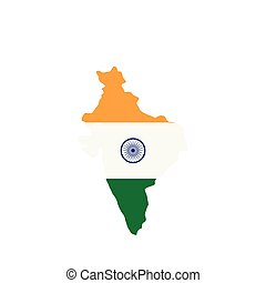Map of India with the image of the national flag