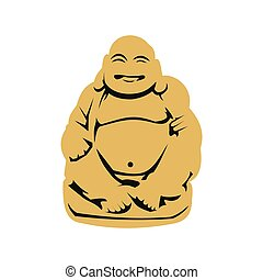 Hotei or Budai, Japanese Netsuke icon, flat style - Hotei or...