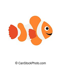 Clownfish flag icon, flat style - Clownfish flag icon in...