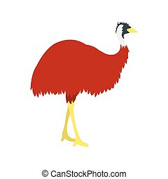 Emu icon, flat style - Emu icon in flat style isolated on...