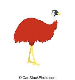 Emu icon, flat style - Emu icon in flat style isolated on...