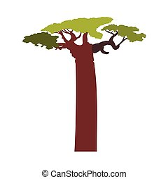 Baobab tree icon, flat style - Baobab tree icon in flat...