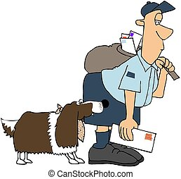 Dog Biting A Mailman - This illustration depicts a springer...