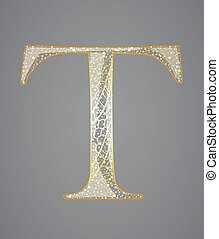 Abstract golden letter T.