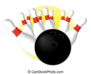 Bowling ball hitting pins - bowling ball making a strike and...