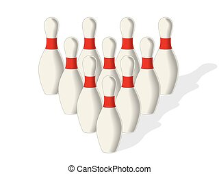 Bowling pins - set of bowling pins in pyramid formation on a...