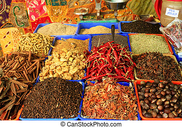 Spices in an Indian bazaar - Spices on sale at a roadsite...