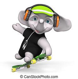 Teenager elephant skateboarding isolated 3d render -...