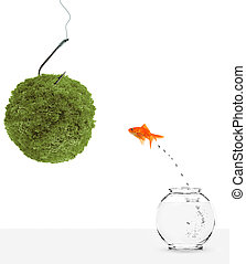 goldfish leaping towards green planet bait isolated on white