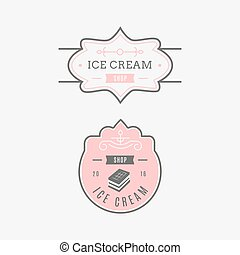 Set of ice-cream shop labels, logotypes and design elements. Vintage collection of different ice cream elements. Cold desserts and ice cream objects.