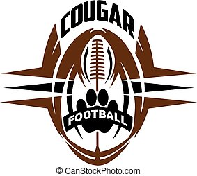 cougar football team design with paw print inside ball for...