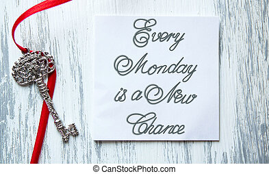 Every Monday is a New Chance inspirational quotes lettering...