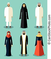 Muslim people flat icons. Traditional culture arabic, people...