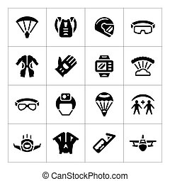 Set icons of parachute isolated on white Vector illustration...