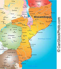 color map of Mozambique country - Vector color map of Kenya...