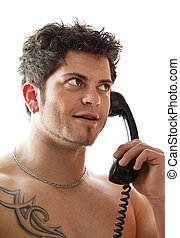 jovem, homem, telefone