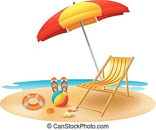 Recliner under garden umbrella in s - vector illustration of...
