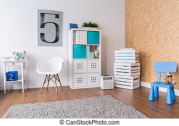 Fun corner in cozy boys room - Spacious modern room for boy...