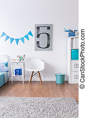 Modern room not only for boy - White bedroom with blue...