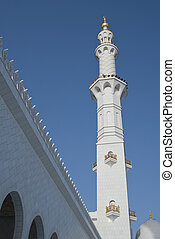 A view of a minaret from the courtyard