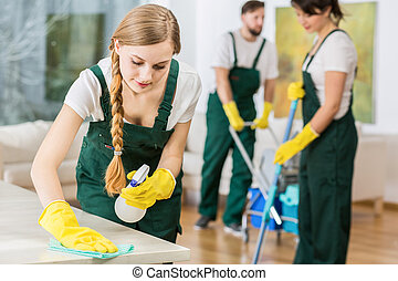 Girl polishing the table - Young pretty cleaning girl in...