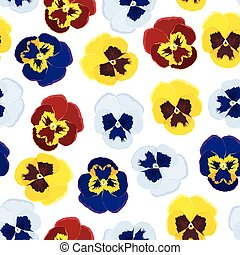 Pansies pattern seamless - Vector illustrations of Pansies...