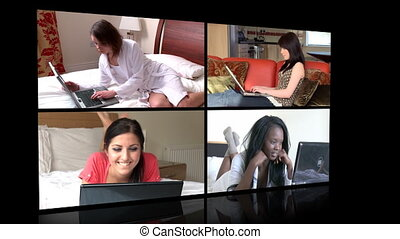young women using a laptop - Stock animation showing young...