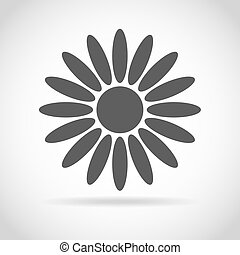 Abstract camomile on white background Flower icon design