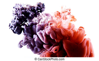 color abstract art - colorful abstract art ink on white...