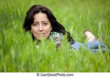 woman posing on grass