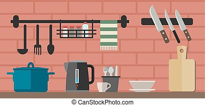 Cooking utensils on kitchen table. - Kitchenware flat icons....